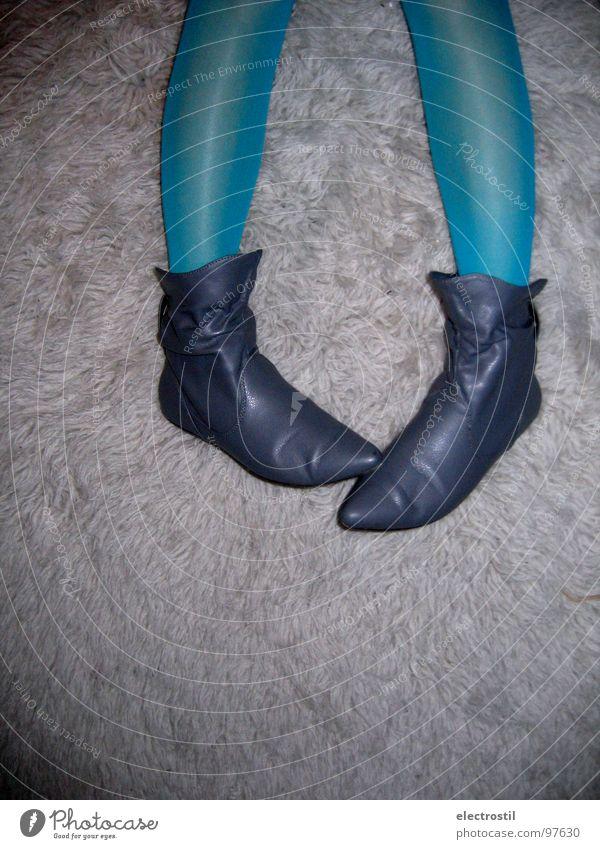 walk a mile in my shoes Frau blau Schuhe Beine Freizeit & Hobby türkis Stiefel Strumpfhose Elfe Flokati
