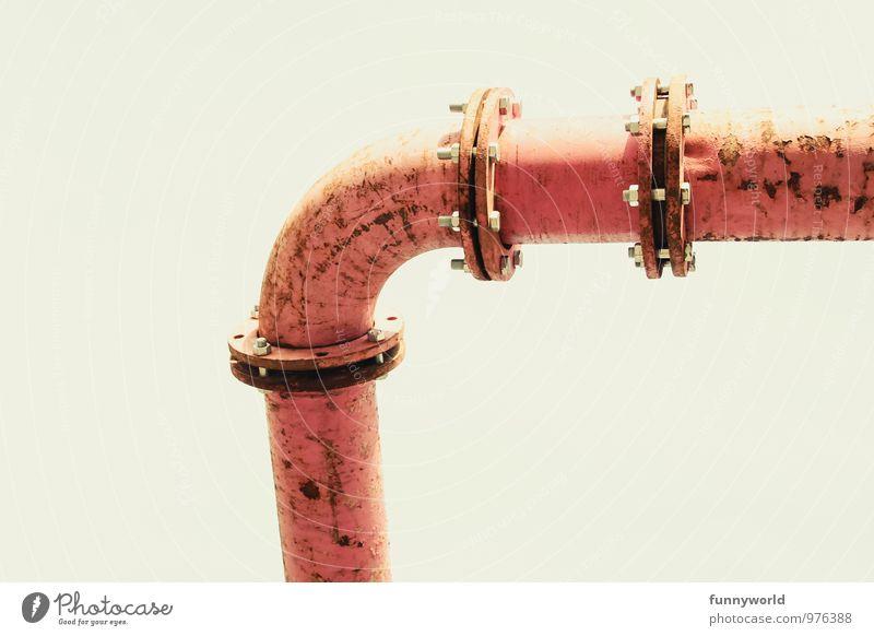 FLANSCH! Industrieanlage Fabrik Röhren Eisenrohr Rohrleitung alt oberirdisch rosa Leitung fließen Flansch Pipeline Rost Farbfoto Außenaufnahme Detailaufnahme