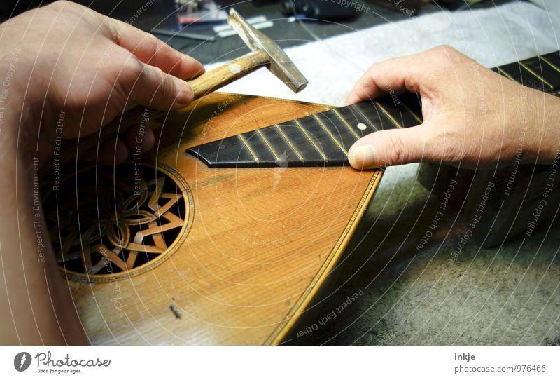 Laute Mensch alt Hand Erwachsene Leben Arbeit & Erwerbstätigkeit Kreativität Beruf Werkstatt Handwerk Handwerker Reparatur Präzision Hammer Mandoline