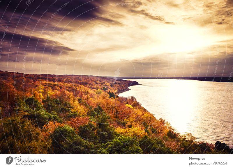 autumn landscape Himmel Natur grün Wasser Sonne Baum rot Blatt Landschaft Wolken Wald Umwelt gelb Herbst See Klima
