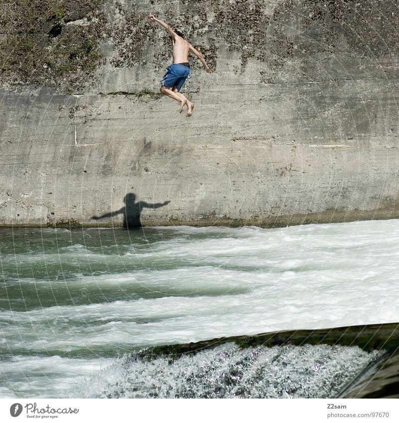 falling down Wasser blau Sommer Freude Wand springen oben Bewegung Freiheit Mauer 2 Zusammensein fliegen frei gefährlich Fluss
