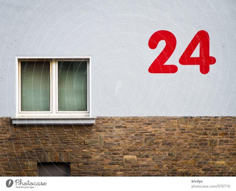 24, rote , große Zahl auf Hauswand. Hausnummer Mauer Wand Fassade Fenster Ziffern & Zahlen ästhetisch außergewöhnlich skurril Stil Stadt Häusliches Leben