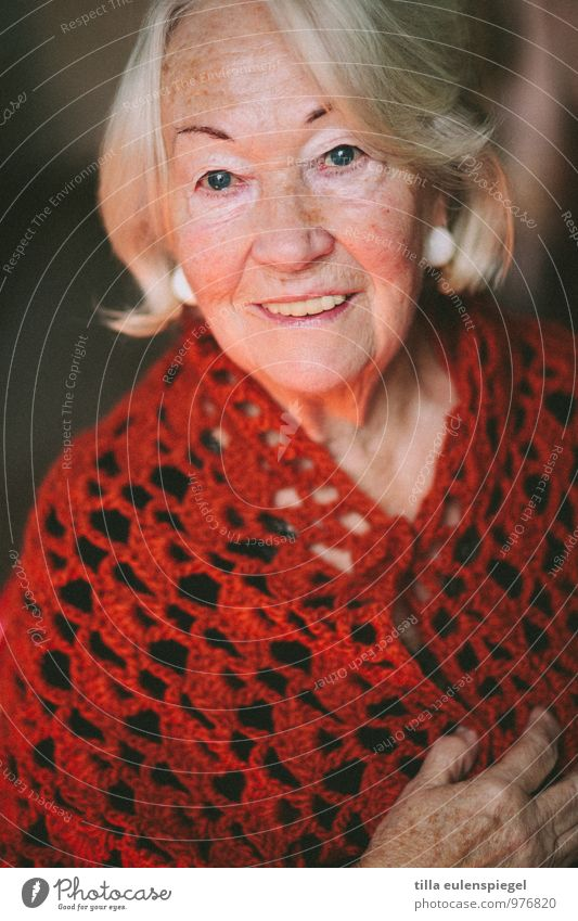77 feminin Weiblicher Senior Frau Großmutter 1 Mensch 60 und älter Strickpullover blond weißhaarig alt Blick Freundlichkeit Fröhlichkeit schön rot Zufriedenheit