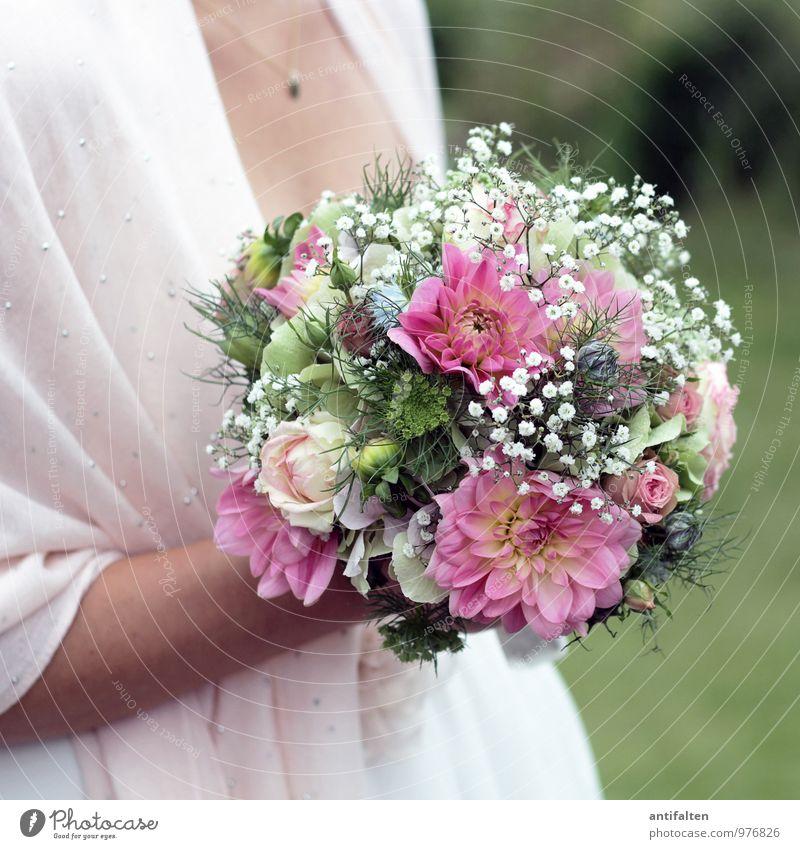 Brautstrauß im Q Mensch Frau Jugendliche schön weiß 18-30 Jahre Erwachsene Liebe Glück Feste & Feiern Paar rosa Zusammensein elegant Körper Arme