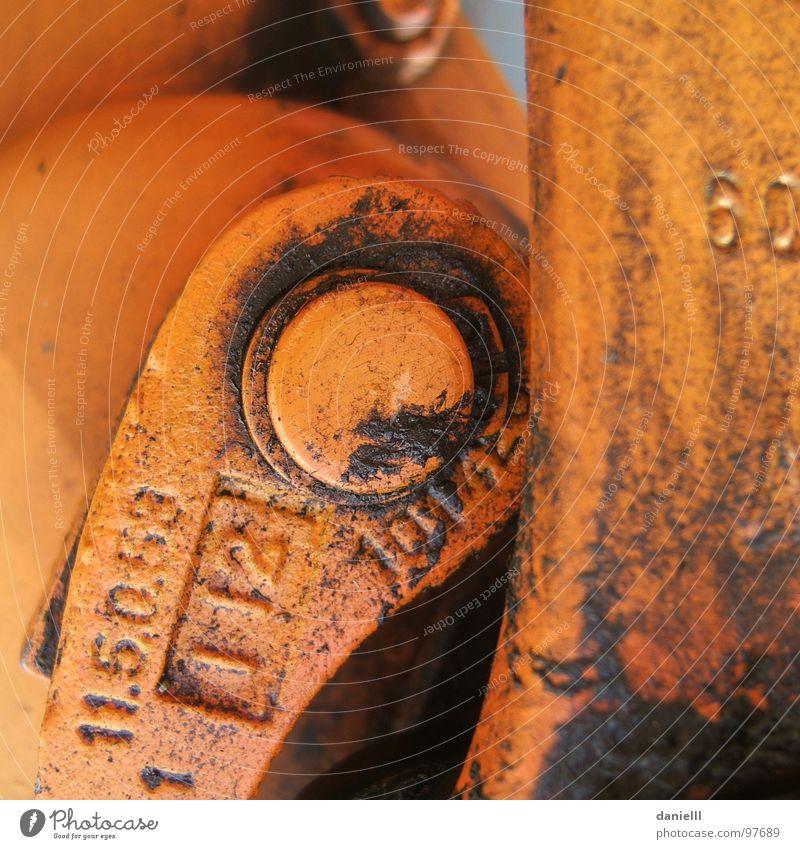 60 dreckig Fett Hebel Mechanik Industrie Farbe orange verschmiert Erdöl ölig verölt Schmiererei