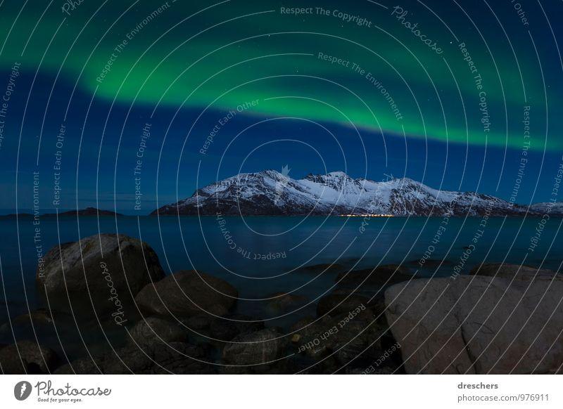 Nordlicht Himmel Natur Ferien & Urlaub & Reisen blau grün weiß Meer Landschaft Winter Berge u. Gebirge Schnee Freiheit außergewöhnlich Stimmung träumen Wetter