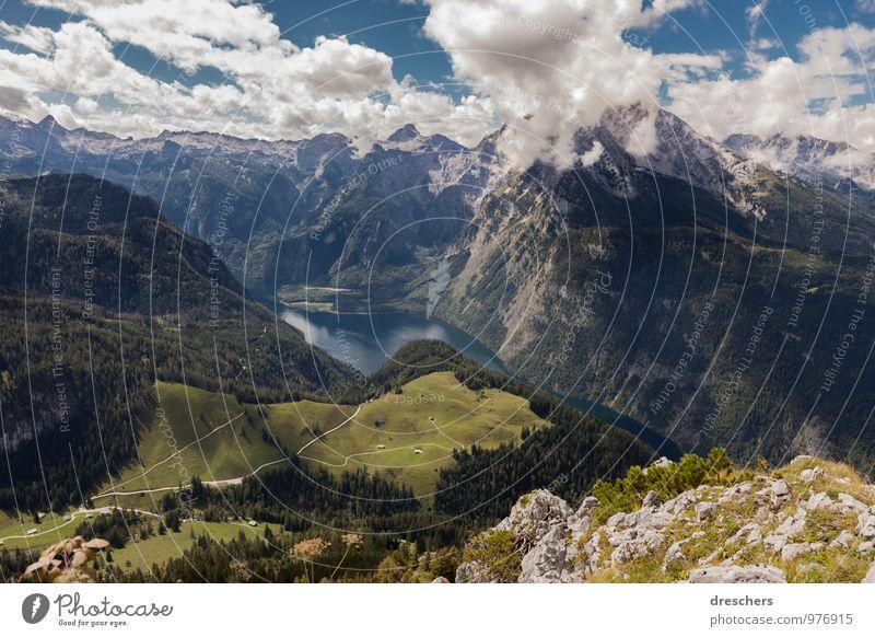 Königssee Berchtesgaden Himmel Natur Ferien & Urlaub & Reisen Wasser Sommer Landschaft Wolken Berge u. Gebirge Gefühle Freiheit See Kraft Tourismus Energie wandern Ausflug