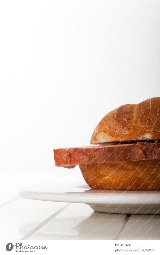 LeberKäseWeggla Lebensmittel Fleisch Teigwaren Backwaren Teller Billig gut Leberkäse Brötchen Semmel Vesper Snack Fastfood bayerisch Scheibe Portion