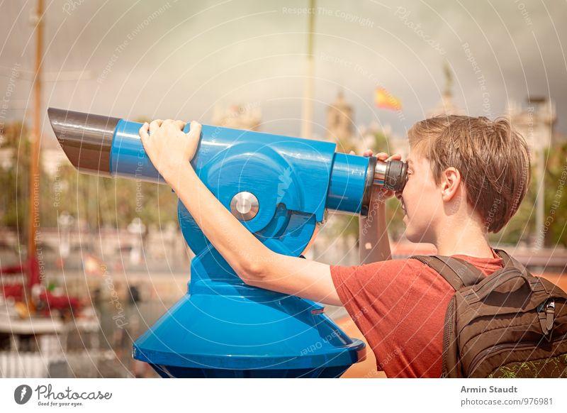 Tourist am Fernrohr Mensch Kind Ferien & Urlaub & Reisen Jugendliche Stadt Freude Ferne Auge braun Lifestyle maskulin Tourismus 13-18 Jahre Arme beobachten