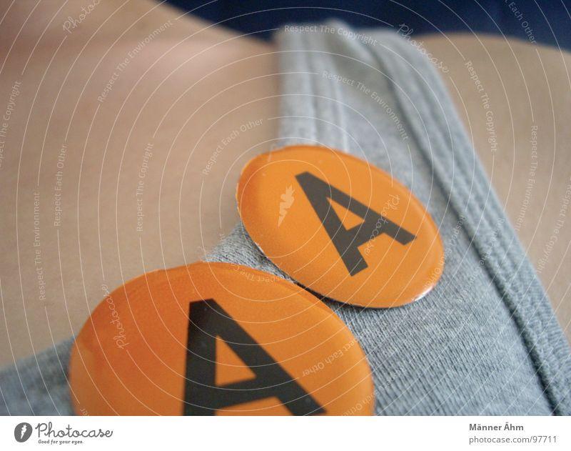 Tja,.. Doppel A Freude grau orange Schriftzeichen Buchstaben T-Shirt Schulter Doppelbelichtung Hals Anstecker