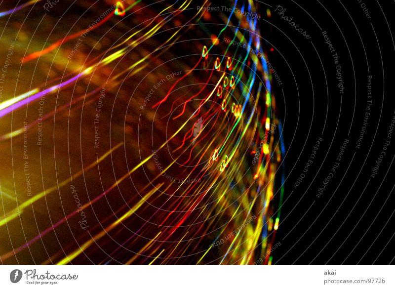 Ufo-Lichterspiel 9 Ufolampe Fernsehlampe Belichtung UFO Lichtspiel Langzeitbelichtung Experiment Streifen Glasfaser Studie mehrfarbig rot gelb grün magenta