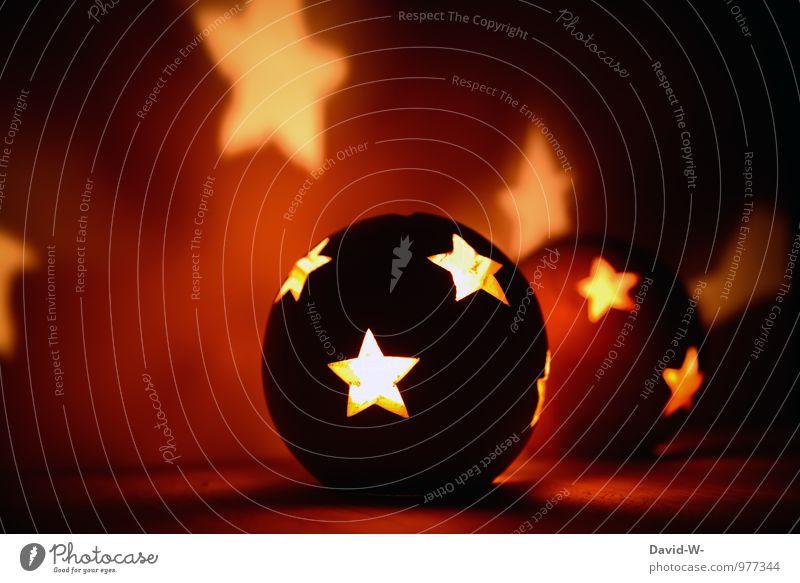 Mond und Sterne Weihnachten & Advent schön rot Beleuchtung Kunst orange träumen leuchten Dekoration & Verzierung Warmherzigkeit Feuer geheimnisvoll Wunsch Kugel