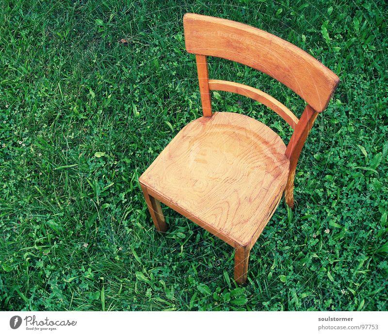 Sitzplatz II Wiese Sitzgelegenheit Holz nass kalt Einsamkeit ruhig Vogelperspektive Blatt grün braun hellbraun dunkelgrün Verzweiflung Erholung Wetter Möbel