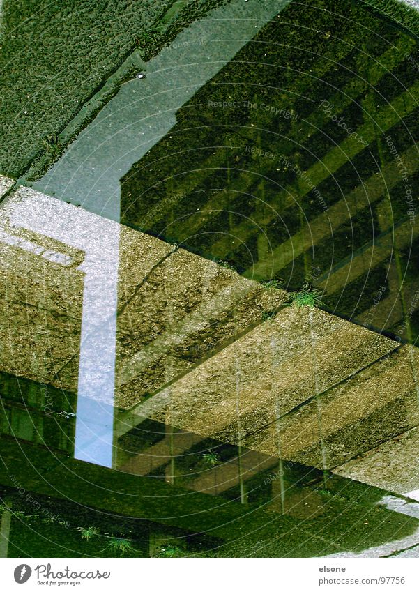 eingestreift Haus Demontage nass kalt Herbst Reflexion & Spiegelung Streifen weiß Fußgänger Bordsteinkante Fenster grün Einsamkeit Zone Dresden Hotel Prag Beton