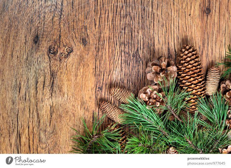 Weihnachtsdekoration Dekoration & Verzierung Holz Ornament authentisch natürlich grün Tradition Textfreiraum Dezember horizontal Kiefer rustikal Jahreszeiten
