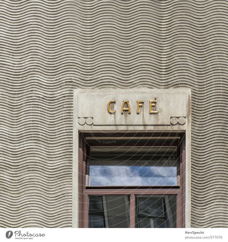 Café Donauwelle Restaurant trinken Wien Altstadt Haus Bauwerk Gebäude Fassade Fenster Stein Glas Schriftzeichen Ornament Schilder & Markierungen historisch grau