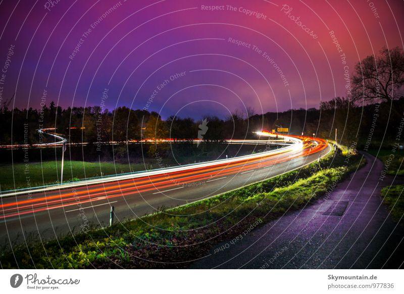 Lichtzieher blau grün rot gelb Bewegung PKW Kraft leuchten Verkehr Fahrrad Coolness fahren violett zeichnen Fahrzeug Lastwagen