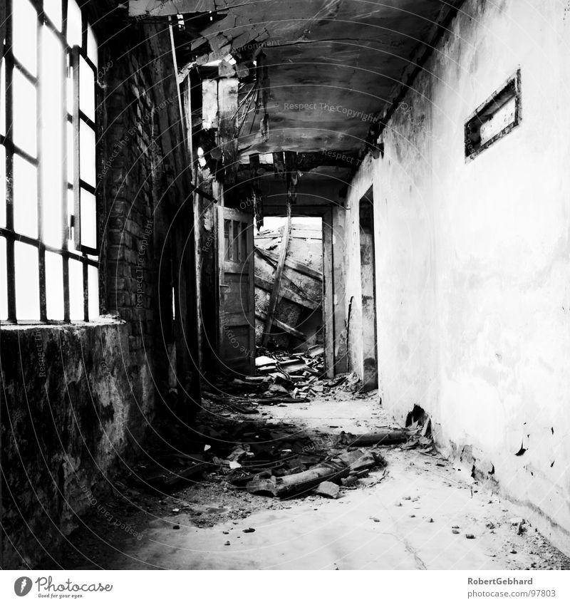 cross Abrissgebäude Fenster verfallen Durchgang Bodenbelag Wand Ruine Dessau Brauerei Gebäude Haus Bauschutt Schwarzweißfoto Trauer Verzweiflung alt Rücken Tür