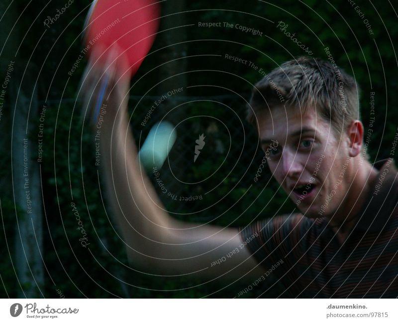 Forrest Gump Mann Hand rot Freude Gesicht Sport Spielen Holz Freizeit & Hobby Mund Geschwindigkeit Sträucher T-Shirt Ball Ohr Kugel