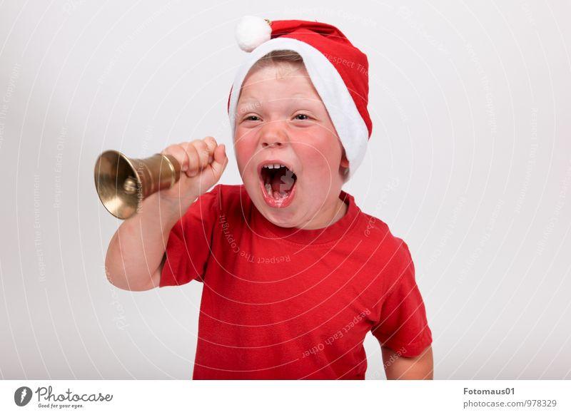 It´s Christmas-Time I Mensch Kind Weihnachten & Advent weiß rot Freude Leben Gefühle Junge lachen Feste & Feiern Stimmung wild Kindheit Energie verrückt