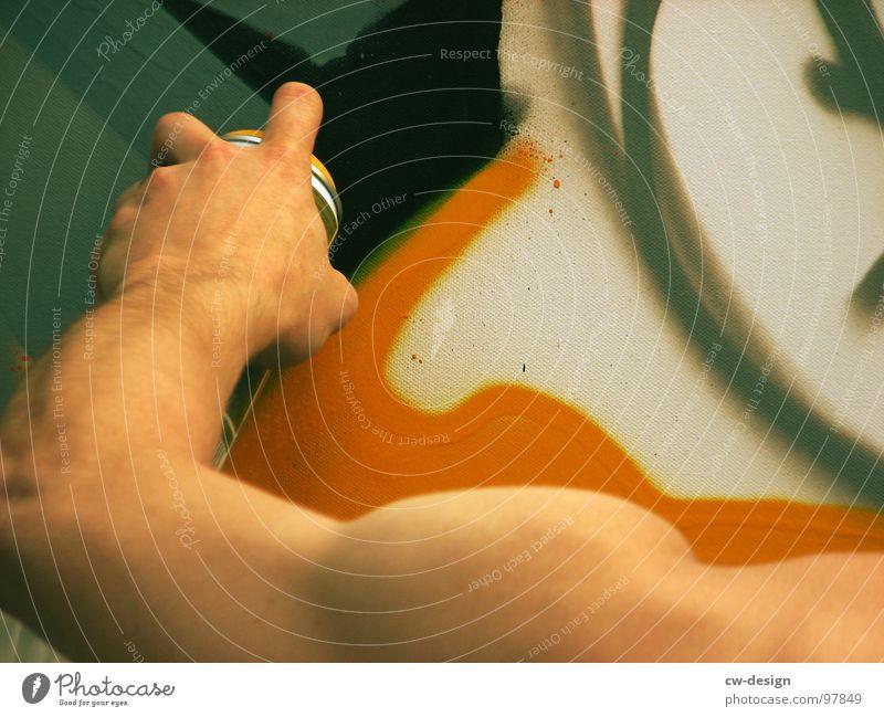 prettying up the world Mann Jugendliche Hand Farbe schwarz Wand Graffiti Stil Metall Kunst Linie Arme Design modern Erfolg Finger