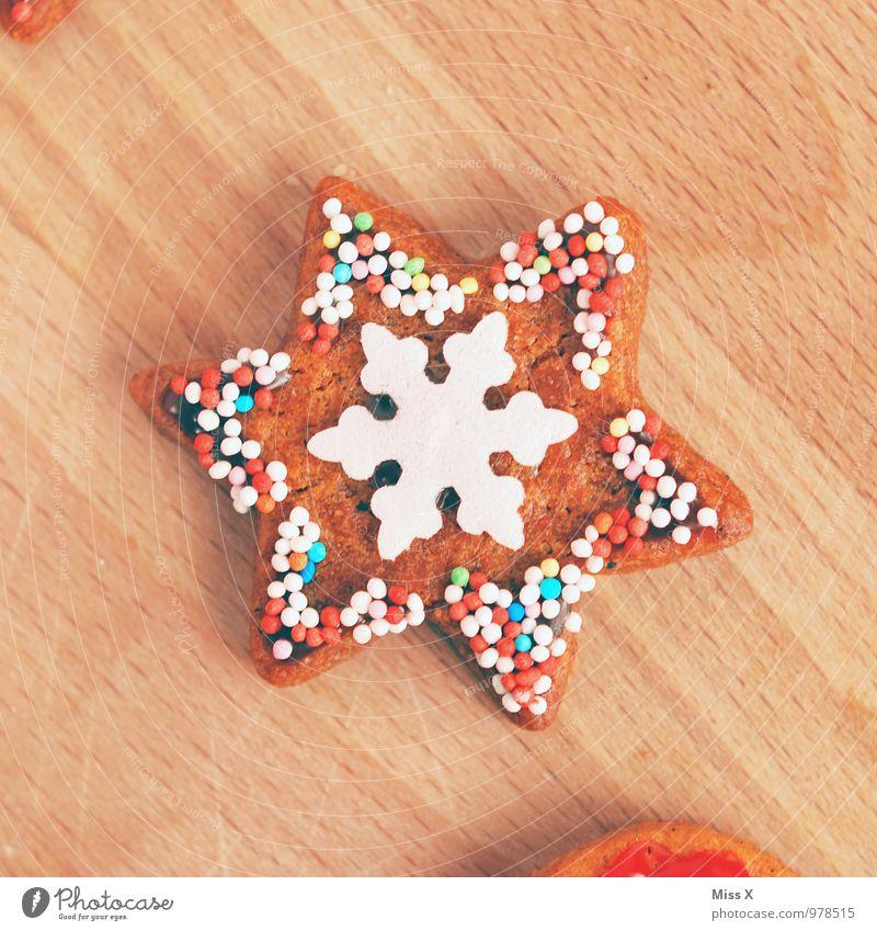Stern Weihnachten & Advent Lebensmittel Schneefall Ernährung Stern (Symbol) süß Kochen & Garen & Backen lecker Süßwaren Backwaren Teigwaren Zucker Plätzchen