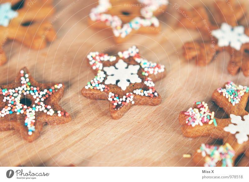Plätzchen Weihnachten & Advent Lebensmittel Ernährung süß Stern (Symbol) lecker Süßwaren Backwaren Zucker Teigwaren Plätzchen Schneeflocke Weihnachtsgebäck verziert Streusel Zuckerguß