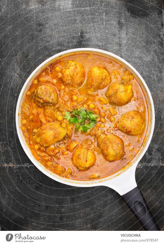 Hähnchenschenkel mit Kichererbsen und Curry Sauce Gesunde Ernährung Stil Speise Lebensmittel Foodfotografie Design Ernährung Kochen & Garen & Backen Küche Kräuter & Gewürze Gemüse Bioprodukte Restaurant Fleisch Abendessen Indien