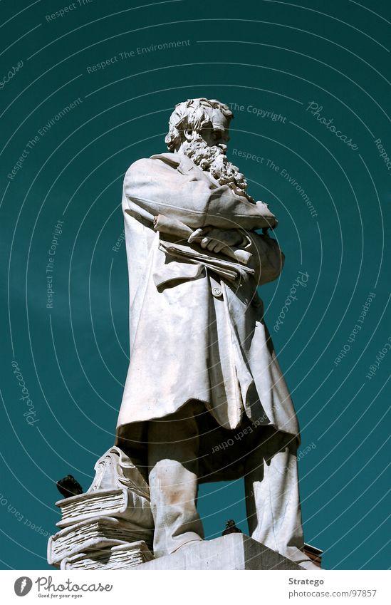 der Bärtige alt Himmel weiß grün Haare & Frisuren Stein Denken Vogel Buch Studium lesen Italien Bart Statue Denkmal