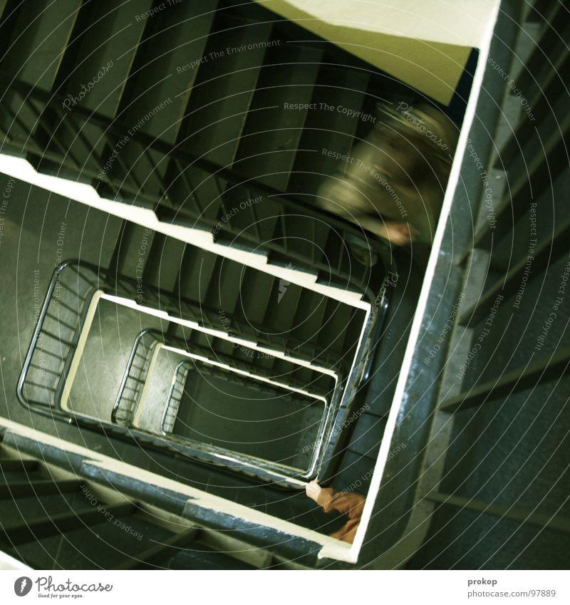 Diplopiphobie Treppenhaus Flur Unschärfe Parkhaus Hand Bewegungsunschärfe Geschwindigkeit Jagd fallen Angst Panik gefährlich Sportveranstaltung Konkurrenz