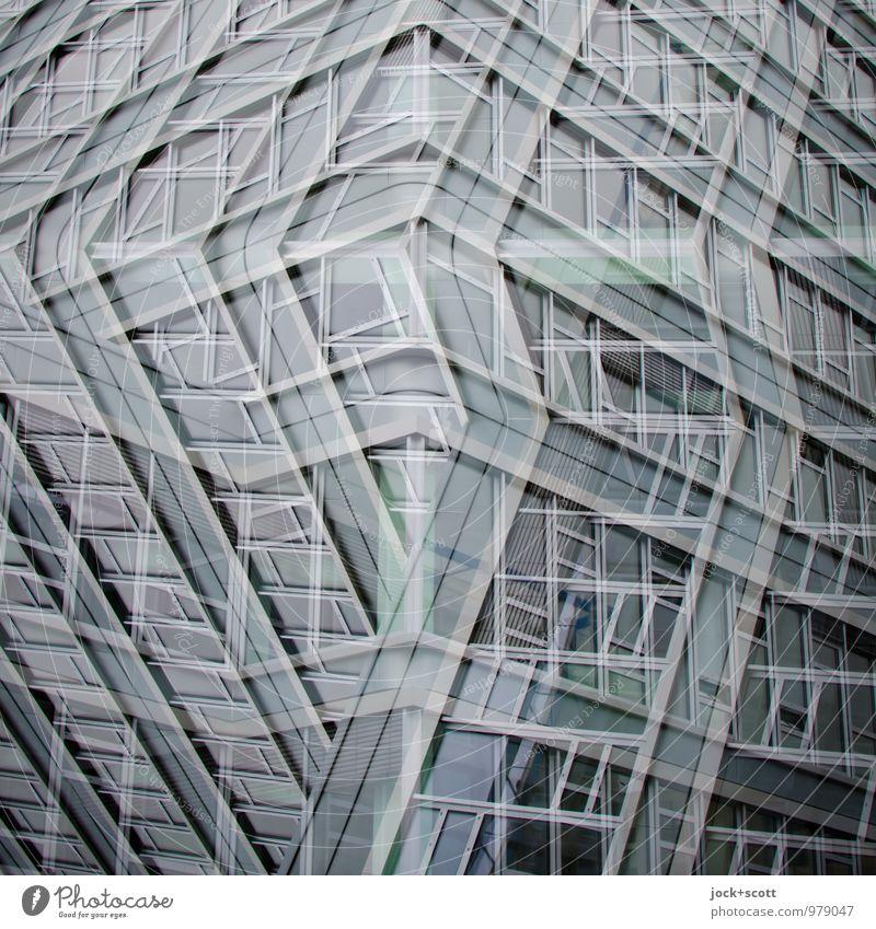 Ecklösung, alles Fassade Stil Design Saarbrücken Bürogebäude Fenster Ecke Linie Netzwerk Coolness eckig fantastisch modern Stadt grau Toleranz beweglich