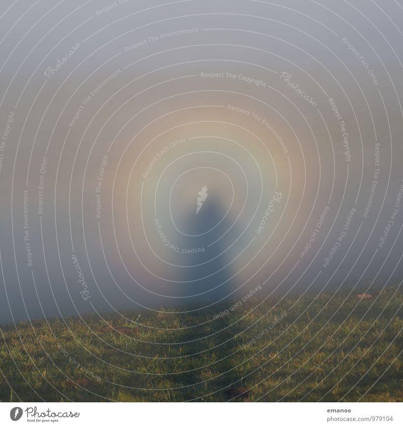 Nebelmann im Regenbogenkreis Mensch Natur Ferien & Urlaub & Reisen Mann Wasser Landschaft Wolken Freude Erwachsene Berge u. Gebirge Wiese Lifestyle Luft Wetter