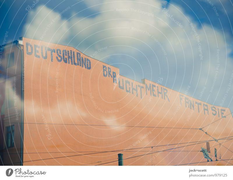 schreib es an jede Wand Stadt Wolken Freude Freiheit träumen orange Ecke Kreativität Lebensfreude einzigartig Wandel & Veränderung Hoffnung planen Neugier