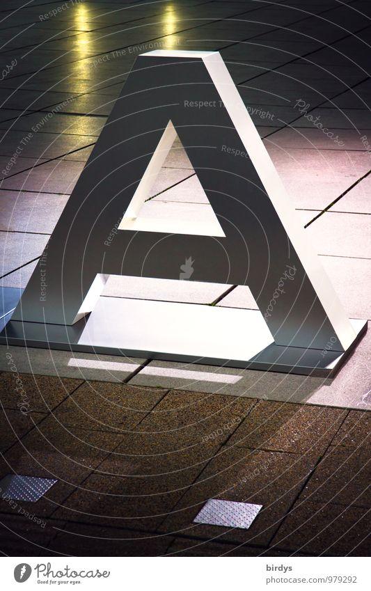 Alles auf Anfang Autoscheinwerfer Großbuchstabe Werbung Schriftzeichen leuchten ästhetisch außergewöhnlich Beginn dreidimensional Lateinisches Alphabet 1