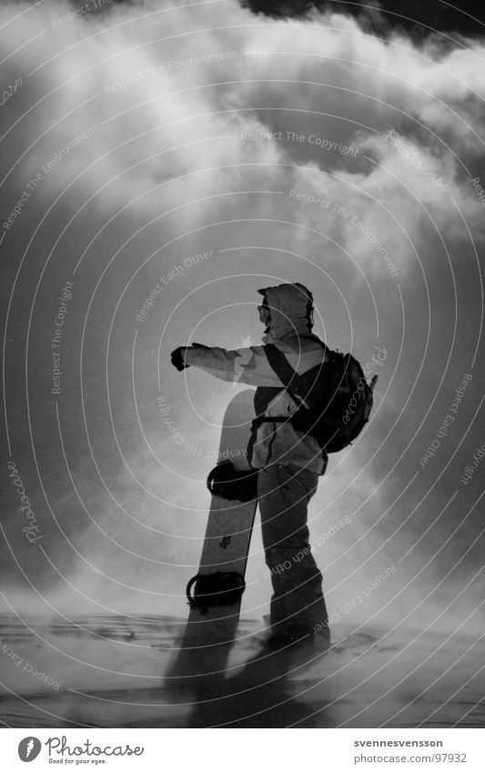 da runter, hinten hoch, durch und oben ruff Bergfest kalt Wolken Gegenlicht Wintersport Snowboard Bergsteiger Sport extrem Naturgewalt Sturm Abenteuer