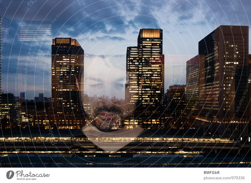 Annonymität in der Großstadt Business maskulin 1 Mensch 30-45 Jahre Erwachsene Stadt Skyline Hochhaus Fenster Denken träumen Traurigkeit Gelassenheit ruhig