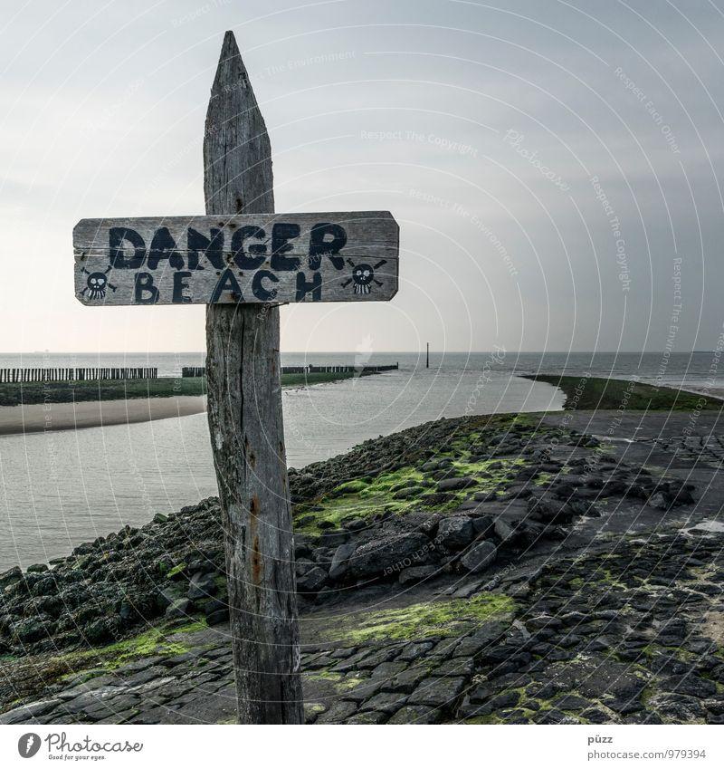 DANGER BEACH Himmel Natur Ferien & Urlaub & Reisen Wasser Sommer Meer Einsamkeit Landschaft Strand Küste Tod grau Stein Horizont Angst Schilder & Markierungen