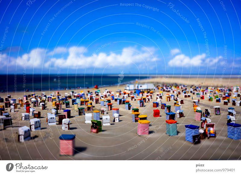 Borkum Beach Himmel Ferien & Urlaub & Reisen blau weiß Sommer Sonne Erholung Meer rot Landschaft Wolken Strand gelb Wärme Küste Sand