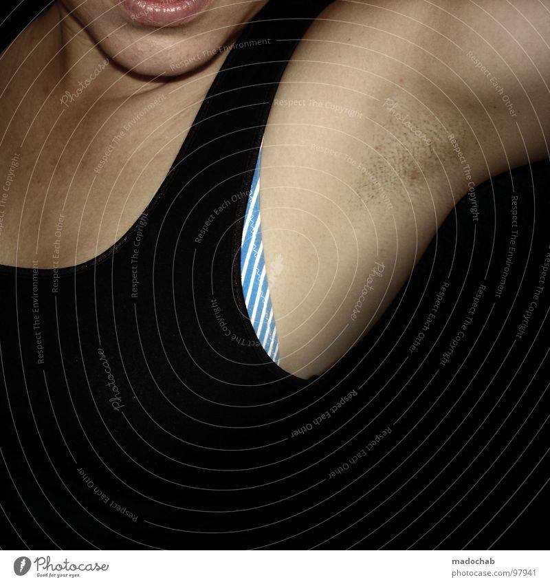CYAN STRIPES BALETT Frau Achsel Muskulatur beweglich Lippen schwarz rasiert Rasieren dunkel Top Kinn zyan Streifen Mensch woman skin Dynamik Haut Arme Hals