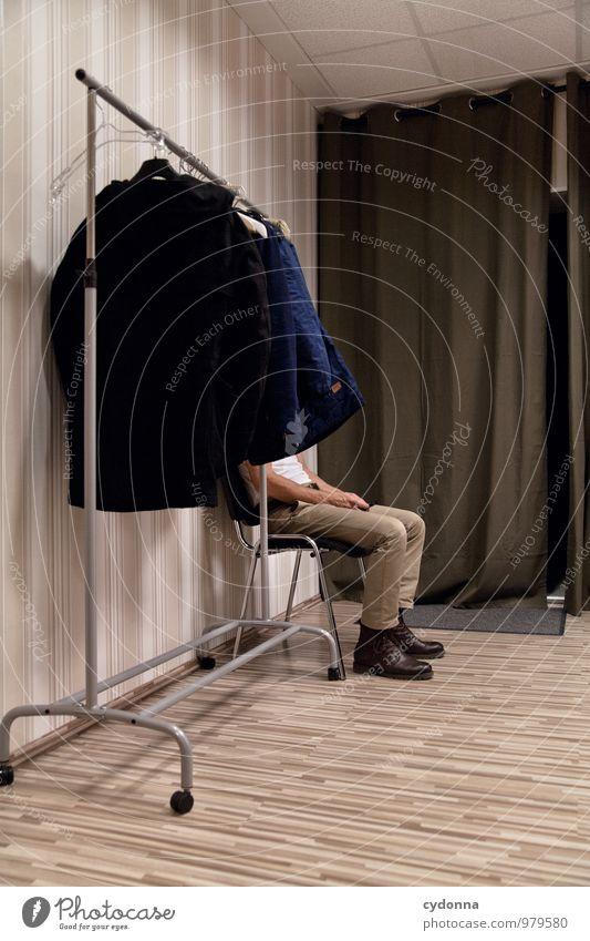 Warten Mensch Jugendliche Einsamkeit ruhig Junger Mann Leben Zeit Gesundheitswesen Lifestyle Raum sitzen warten Beginn Hilfsbereitschaft geheimnisvoll Bildung