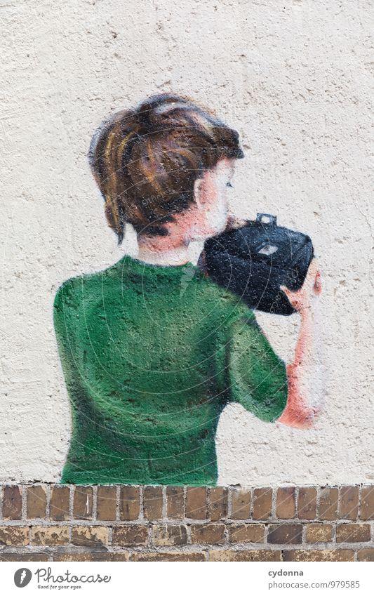 Guck mal Stadt Leben Wand Graffiti Junge Mauer Lifestyle Schule Design ästhetisch Beginn Kreativität Idee lernen Neugier Bildung