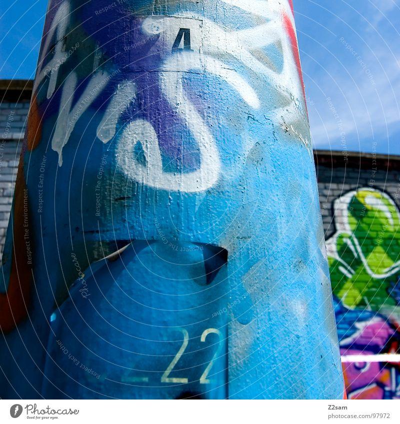 6222 Schlachthof München Wand Gemälde Backstein Laterne Tagger sprühen Kunst Buchstaben Wolken Hiphop Jugendkultur Graffiti Wandmalereien Stadtteil Farbe street