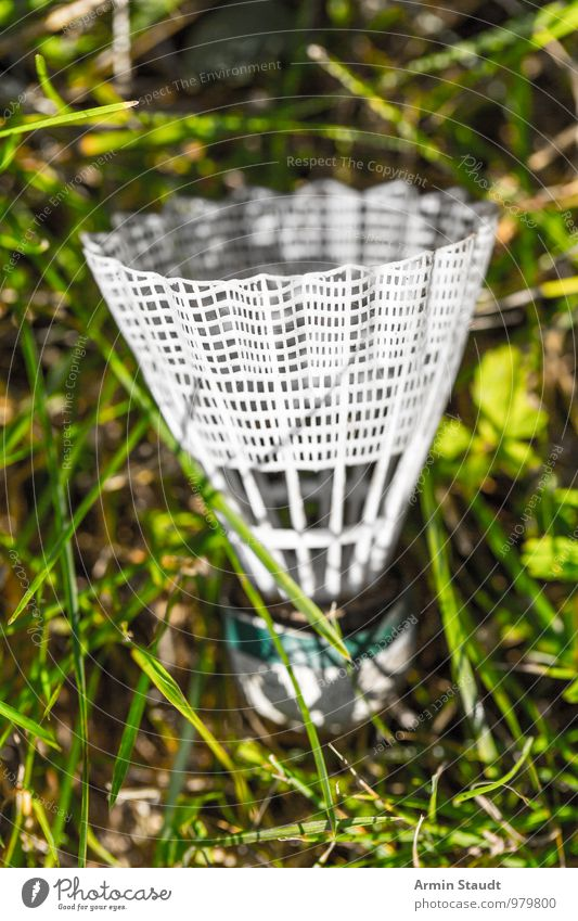 Federball - Wiese Natur grün weiß Einsamkeit Freude Gras natürlich Sport Spielen klein Stimmung hell Lifestyle liegen Freizeit & Hobby