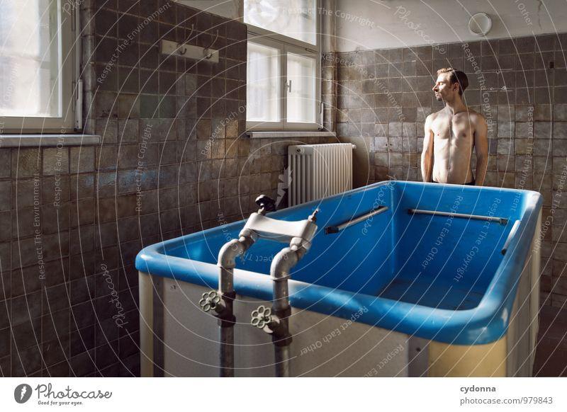 Luftrocknen Mensch Jugendliche nackt schön Erholung Einsamkeit ruhig Junger Mann 18-30 Jahre Fenster Erwachsene Leben Gesundheit Schwimmen & Baden