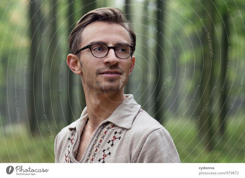 Sorgenfrei schön Gesundheit Leben harmonisch Wohlgefühl Erholung Bildung Mensch Junger Mann Jugendliche 18-30 Jahre Erwachsene Natur Sommer Wald Brille