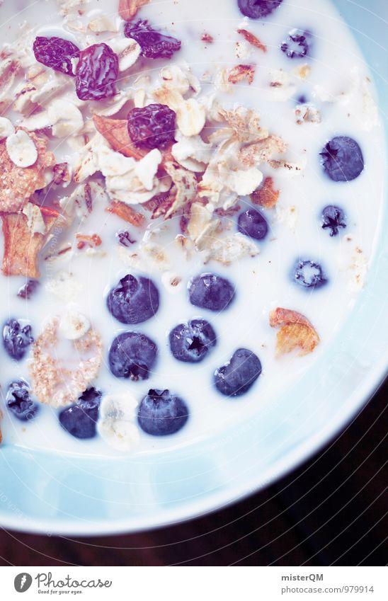 Good Morning! Lebensmittel Milcherzeugnisse ästhetisch Zufriedenheit Blaubeeren blau Müsli Frühstück Frühstückstisch Frühstückspause Gesunde Ernährung lecker