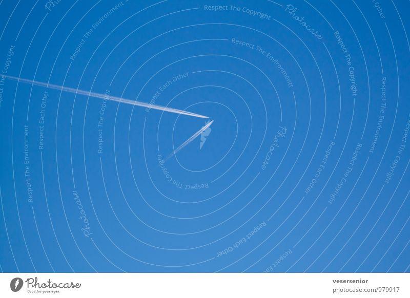 oh, da kommt einer... Luftverkehr Himmel Wolkenloser Himmel Flugzeug fliegen bedrohlich blau Vertrauen Sicherheit Verantwortung Wachsamkeit Vorsicht