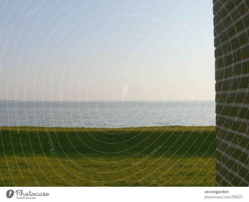 weitsicht Meer Sonnenaufgang Wand Mauer Gras grün Hügel Horizont Morgen Nebel intensiv leer Einsamkeit Küste ruhig Wellness Erholung atmen Aussicht Hotel schön