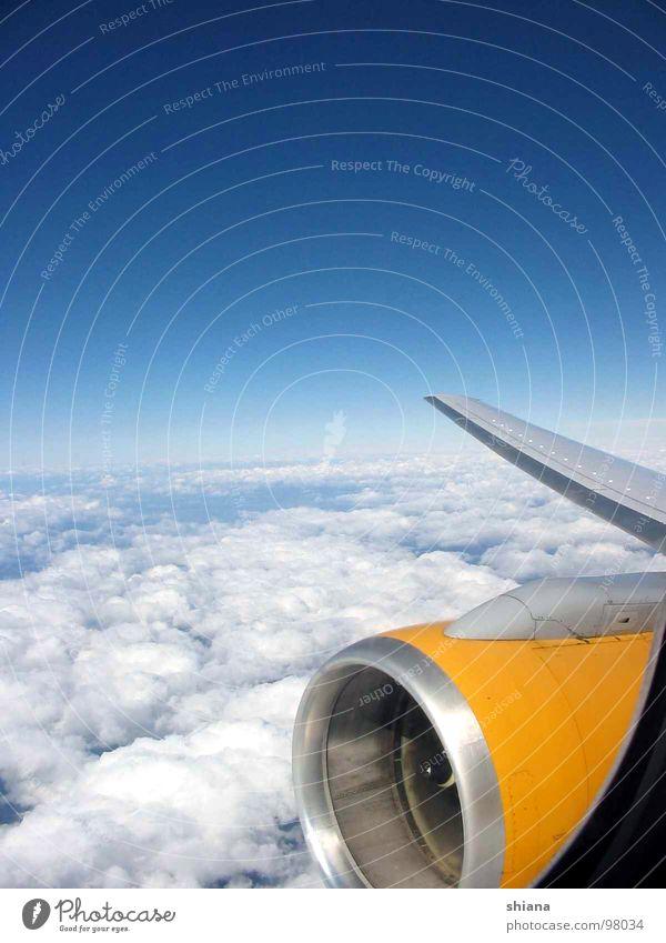 Über den Wolken... Flugzeug Luft gelb weiß Ägypten Süden Farbverlauf Fenster Fensterrahmen Sommer Wolkendecke Luftverkehr Himmel Düsen Flügel blau silber Rahmen