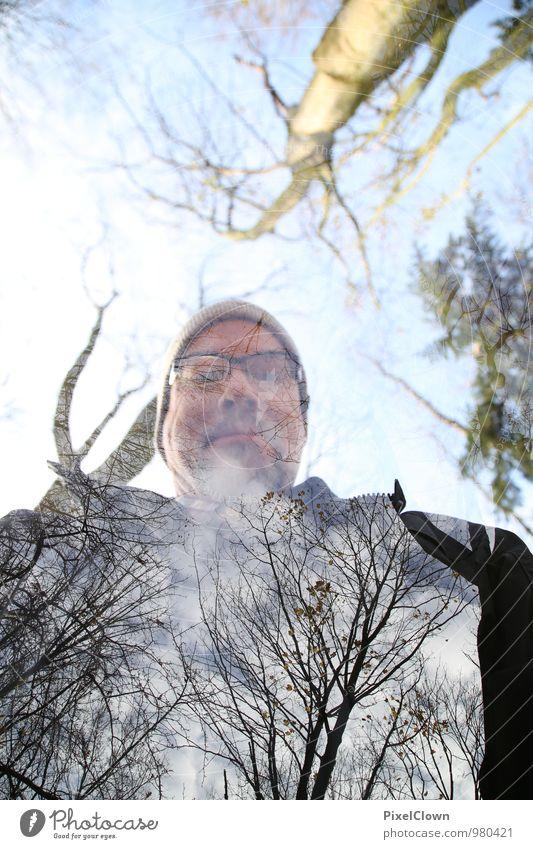 100 - über sich hinauswachsen Mensch Himmel blau Pflanze grün Baum Blatt Landschaft Freude Tier Wald Erwachsene Gesicht grau Freiheit Feste & Feiern
